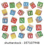 wooden alphabet blocks isolated ... | Shutterstock . vector #357107948