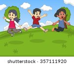 kids playing at th park jumping ... | Shutterstock .eps vector #357111920
