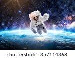 astronaut over earth   elements ... | Shutterstock . vector #357114368
