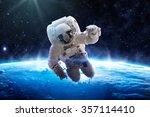 astronaut over earth   elements ... | Shutterstock . vector #357114410
