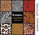 Set Of 8 Seamless Animal...