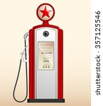 Red Vintage Gas Station In The...