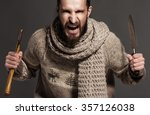 evil young adult beaded man... | Shutterstock . vector #357126038