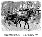 Horse Cart With Coachman In...