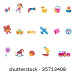 kid toys icon set | Shutterstock . vector #35713408