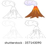 cartoon erupting volcano. dot... | Shutterstock .eps vector #357143090