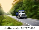 truck on interstate at sunset ... | Shutterstock . vector #357173486
