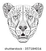 cheetah head zentangle stylized ... | Shutterstock .eps vector #357184016