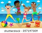 children or kids in swimsuit... | Shutterstock .eps vector #357197309