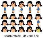 set of cartoon girl character... | Shutterstock .eps vector #357201470