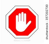 red stop hand sign for... | Shutterstock . vector #357202730