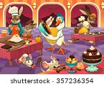 funny animals are cooking cakes ... | Shutterstock .eps vector #357236354