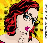 pop art woman with glasses  ...   Shutterstock .eps vector #357238760