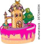 fairytale castle cake. with an...   Shutterstock .eps vector #357244034