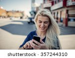 woman using smartphone.hipster... | Shutterstock . vector #357244310