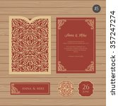 wedding invitation or greeting... | Shutterstock .eps vector #357247274