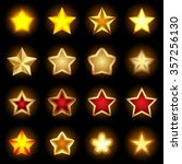 bright star icons set on black...