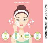 skincare steps flat design...   Shutterstock .eps vector #357270698