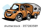 cartoon travel car with camper | Shutterstock .eps vector #357283589