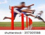 hurdle race  men jumping over... | Shutterstock . vector #357305588