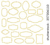 set of gold glitter frames.... | Shutterstock .eps vector #357306110