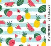 watermelon   pineapple stripe... | Shutterstock .eps vector #357321329