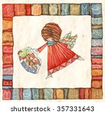 angels with bag  watercolor... | Shutterstock . vector #357331643