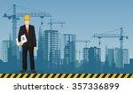 builder man manager worker on...   Shutterstock .eps vector #357336899