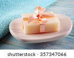 Soap With Ribbon On A Dish Ove...