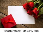 Gift Roses And Blank Paper For...
