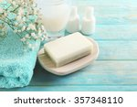 soap on a dish over wooden... | Shutterstock . vector #357348110