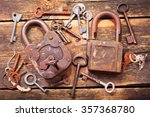Old Rusty Locks And Keys On...