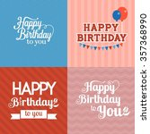 vector happy birthday card with ... | Shutterstock .eps vector #357368990