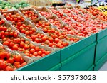 lots of tomatoes in the store | Shutterstock . vector #357373028
