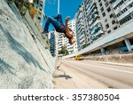 full body portrait of parkour... | Shutterstock . vector #357380504