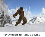 Stock photo sasquatch bigfoot yeti on snowy mountain peaks 357384263