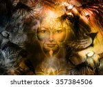 painting mighty lion head  and... | Shutterstock . vector #357384506