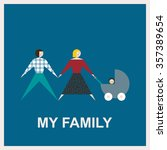my family. flat illustration.... | Shutterstock . vector #357389654