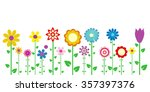 Colorful Spring Flowers Vector...