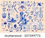 big set of hand drawn old... | Shutterstock . vector #357399773