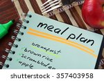 notepad with meal plan and...   Shutterstock . vector #357403958