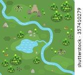 seamless jungle map in flat... | Shutterstock .eps vector #357410279