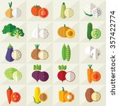 set of vegetables flat icons... | Shutterstock .eps vector #357422774