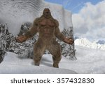 Stock photo sasquatch bigfoot yeti on snowy mountain peaks 357432830