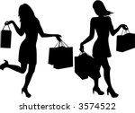 Shopping Girls Silhouette  ...