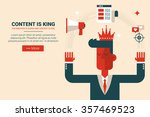 marketing man with floating... | Shutterstock .eps vector #357469523