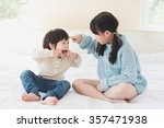asian sister and brother... | Shutterstock . vector #357471938