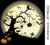 halloween background with full... | Shutterstock .eps vector #35748262