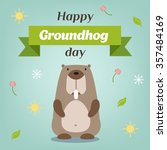Happy Groundhog Day. Vector...