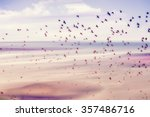birds flying and abstract sky ... | Shutterstock . vector #357486716